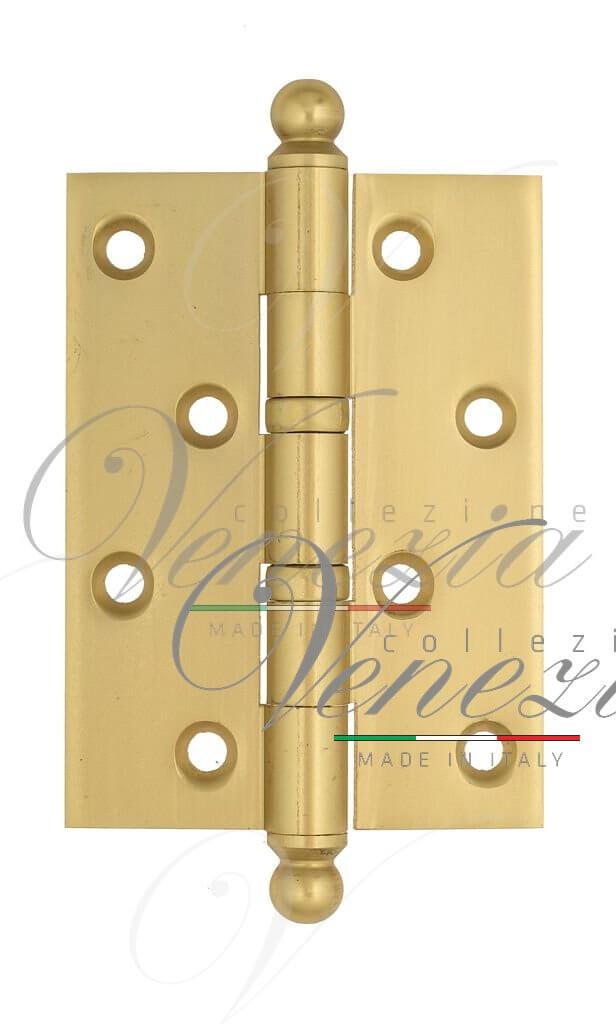 Дверная петля универсальная латунная с круглым колпачком Venezia CRS010 102x76x3 французское золото