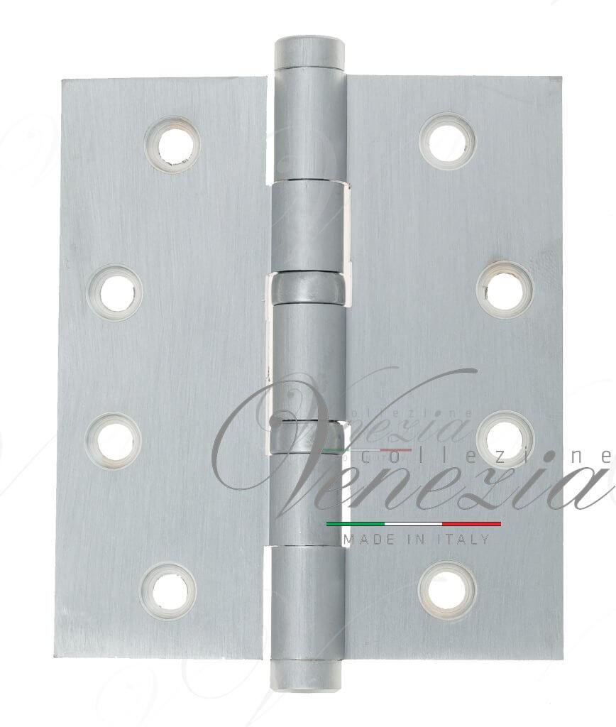 Дверная петля универсальная латунная с плоским колпачком Venezia CRS009 102x76x3 матовый хром