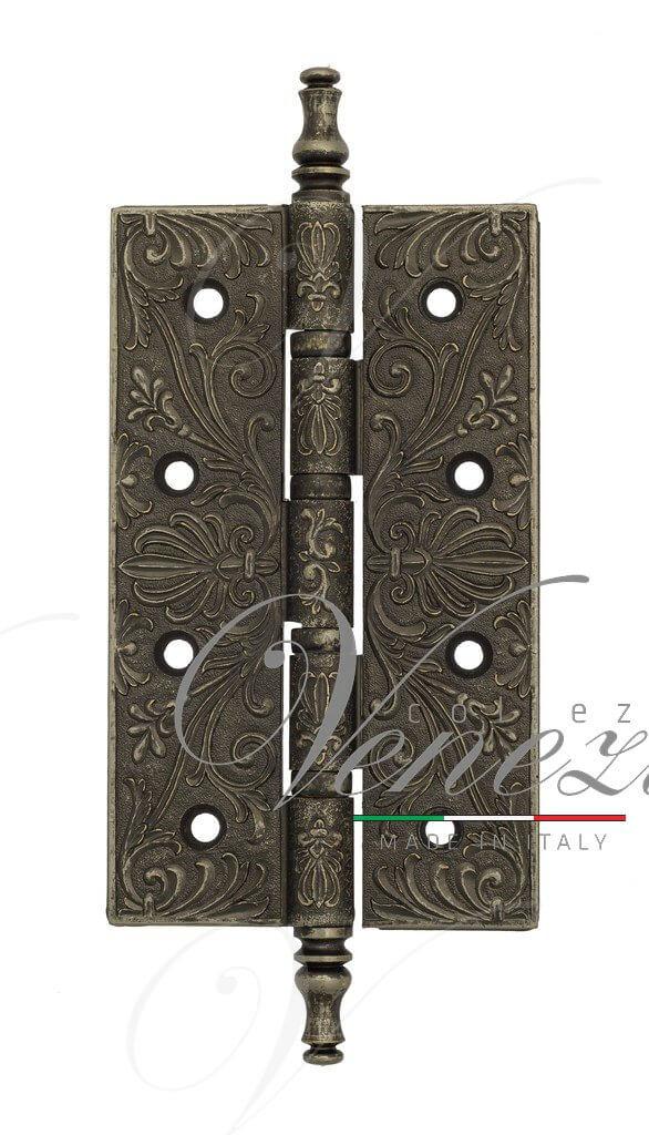 Дверная петля универсальная латунная с узором Venezia CRS012 152x89x4 античное серебро