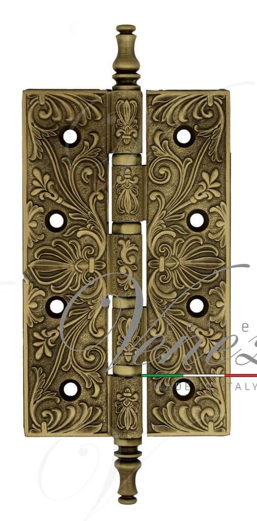 Дверная петля универсальная латунная с узором Venezia CRS012 152x89x4 матовая бронза
