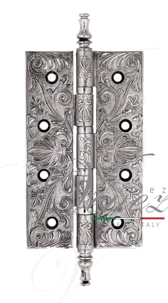 Дверная петля универсальная латунная с узором Venezia CRS012 152x89x4 полированный хром + черный