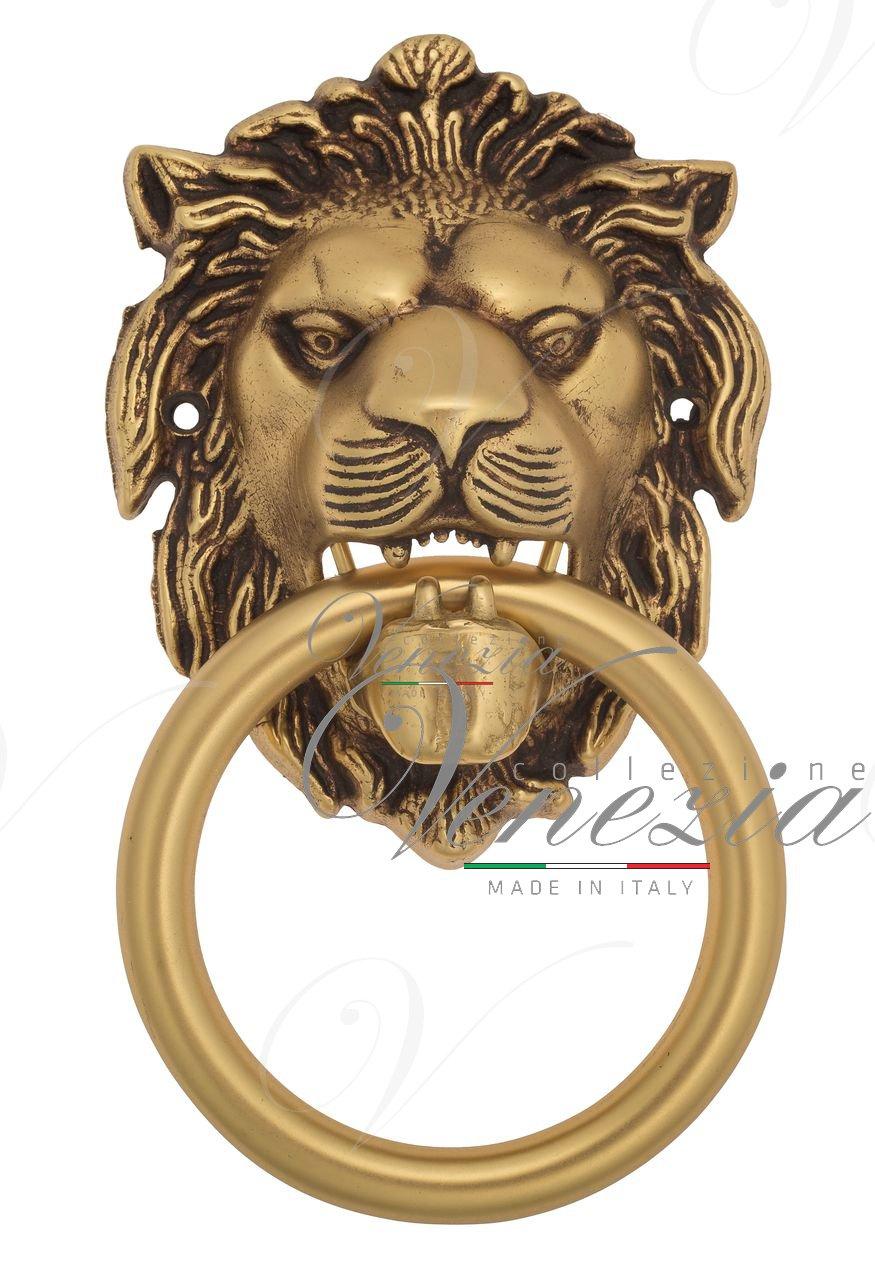 Дверная стучалка Venezia LEONE 190x110 французское золото + коричневый