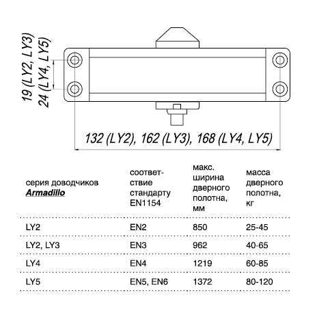 Доводчик дверной морозостойкий LY3 65 кг (золото)