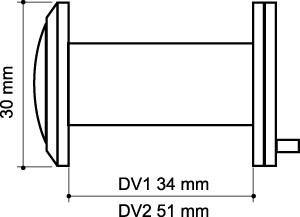 Глазок дверной, пластиковая оптика DV2, 16/55х85 SN Мат. никель