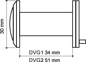 Глазок дверной, стеклянная оптика DVG2, 16/55х85 SN Мат. никель