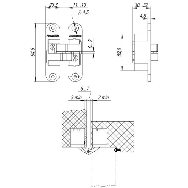 Петля скрытой установки с 3D-регулировкой Architect 3D-ACH 40 AB Бронза прав. 40 кг