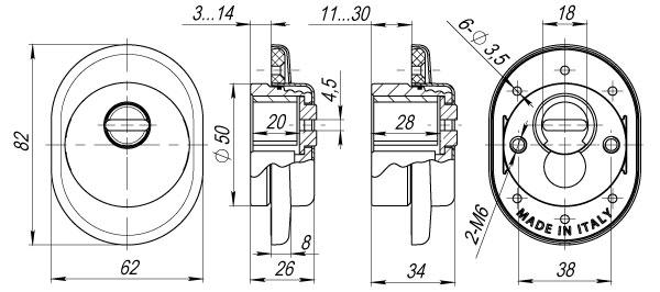 Броненакладка на ЦМ (от вырывания, 25 мм) ET/ATC-Protector 1-25SC-14 Матовый хром box
