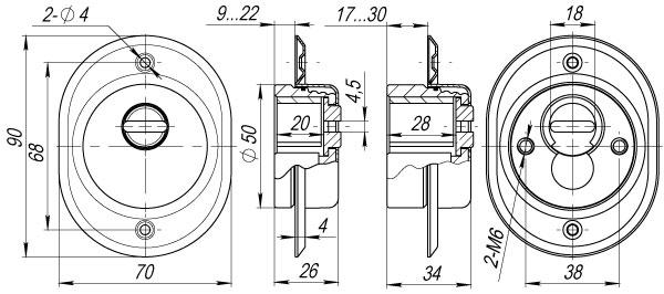 Броненакладка на ЦМ/сквозн. крепл. (от вырывания, 33 мм) ET/ATC-Protector 2-33CP-8 Хром box