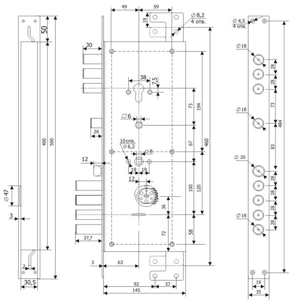Замок врезной ЗВ 2514 Т (левый) без накладок, (5+1 кл. ЗК.203 Н-01) длинный ключ /123:453/