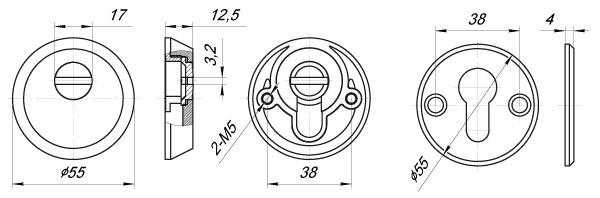 Накладка Z5513 PB ЛАТУНЬ (тех упаковка), винт M5x90