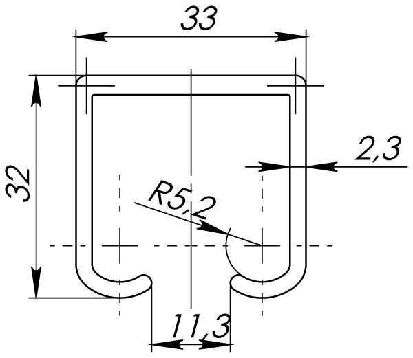 Верхняя направляющая DIY Comfort 80/2,3/2000 track (2 м)