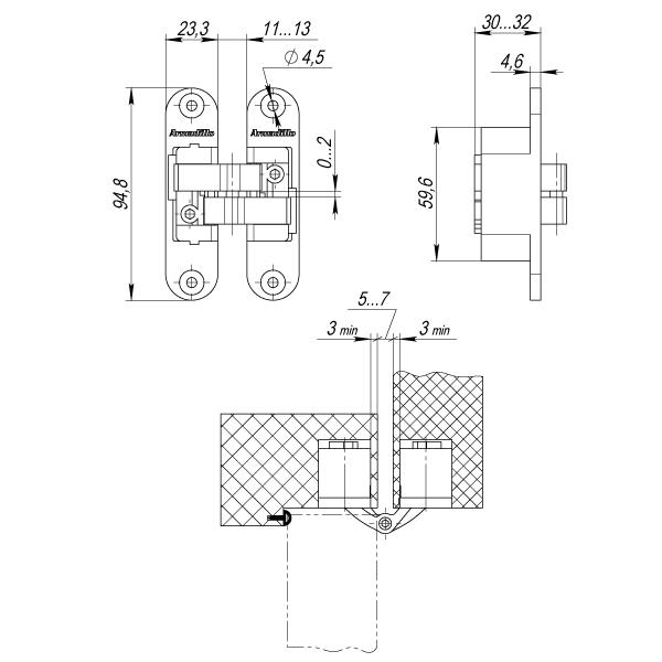 Петля скрытой установки с 3D-регулировкой Architect 3D-ACH 40 BB-17 Коричневая бронза лев.40 кг.