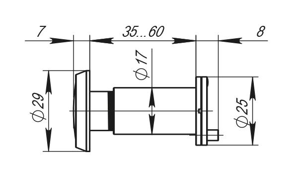 DVP1, 16/140/35x60 (оптика пластик, угол обзора 140) CP Хром