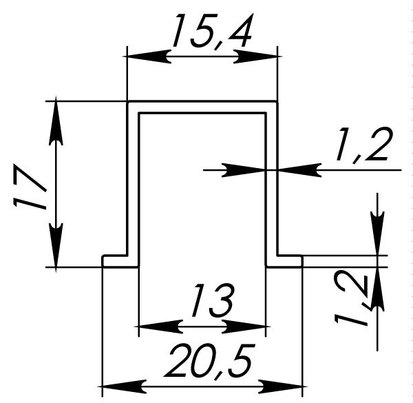 Нижняя направляющая Comfort R 60/80/1500 bottom track (1,5 м)
