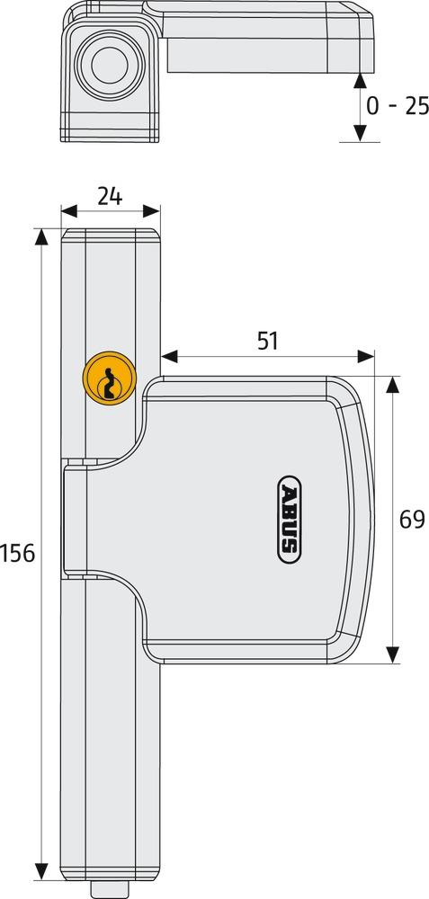 Дополнительный оконный замок FTS206 B SB (Art. no. 37750)