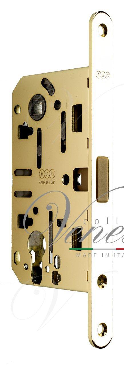 B06103.50.03.567 Замок межкомнатный (BOX) под цилиндр AGB MEDIANA POLARIS (золото) + отв. планка