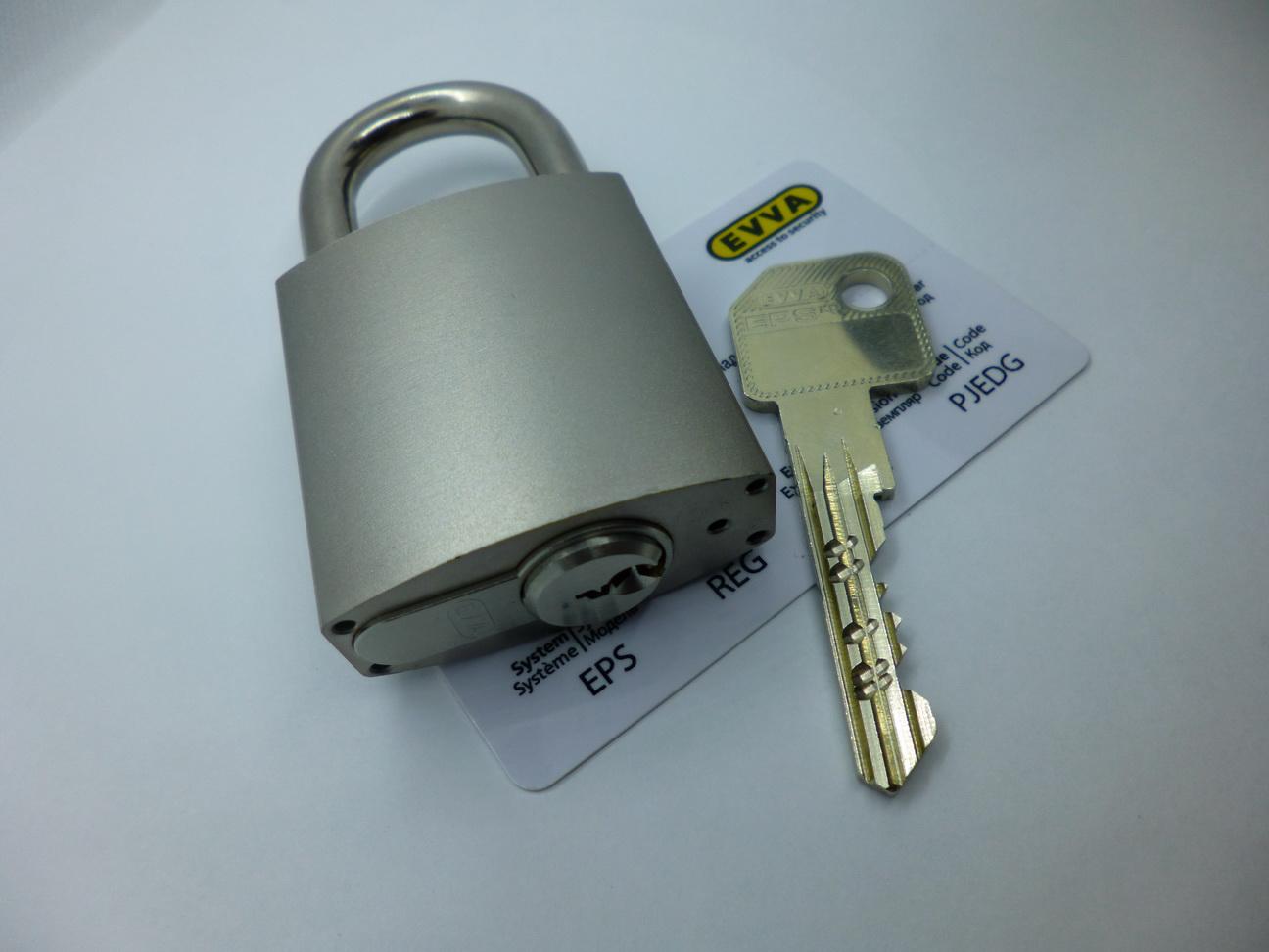 Навесной замок EVVA HRM с цилиндром EVVA EPS, 2 ключа